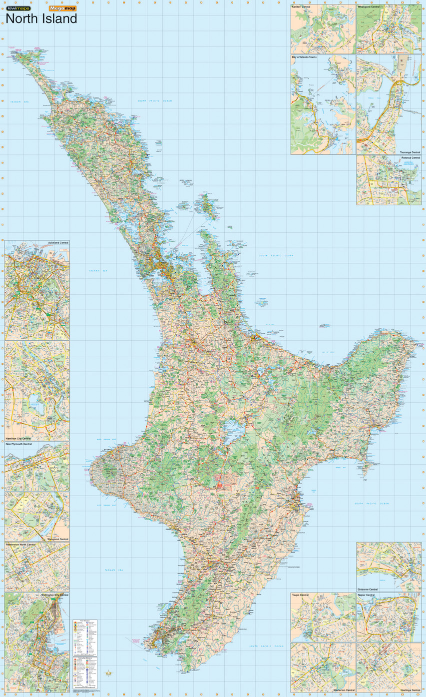 Map Of New Zealand North Island.Kiwmaps New Zealand S Best Selling Maps