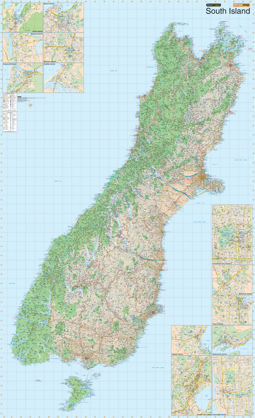 South Island Map Of New Zealand.Kiwmaps New Zealand S Best Selling Maps
